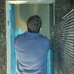 Installatie sanitair deuropening