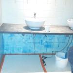 Installatie sanitair voorwerk wasbakken